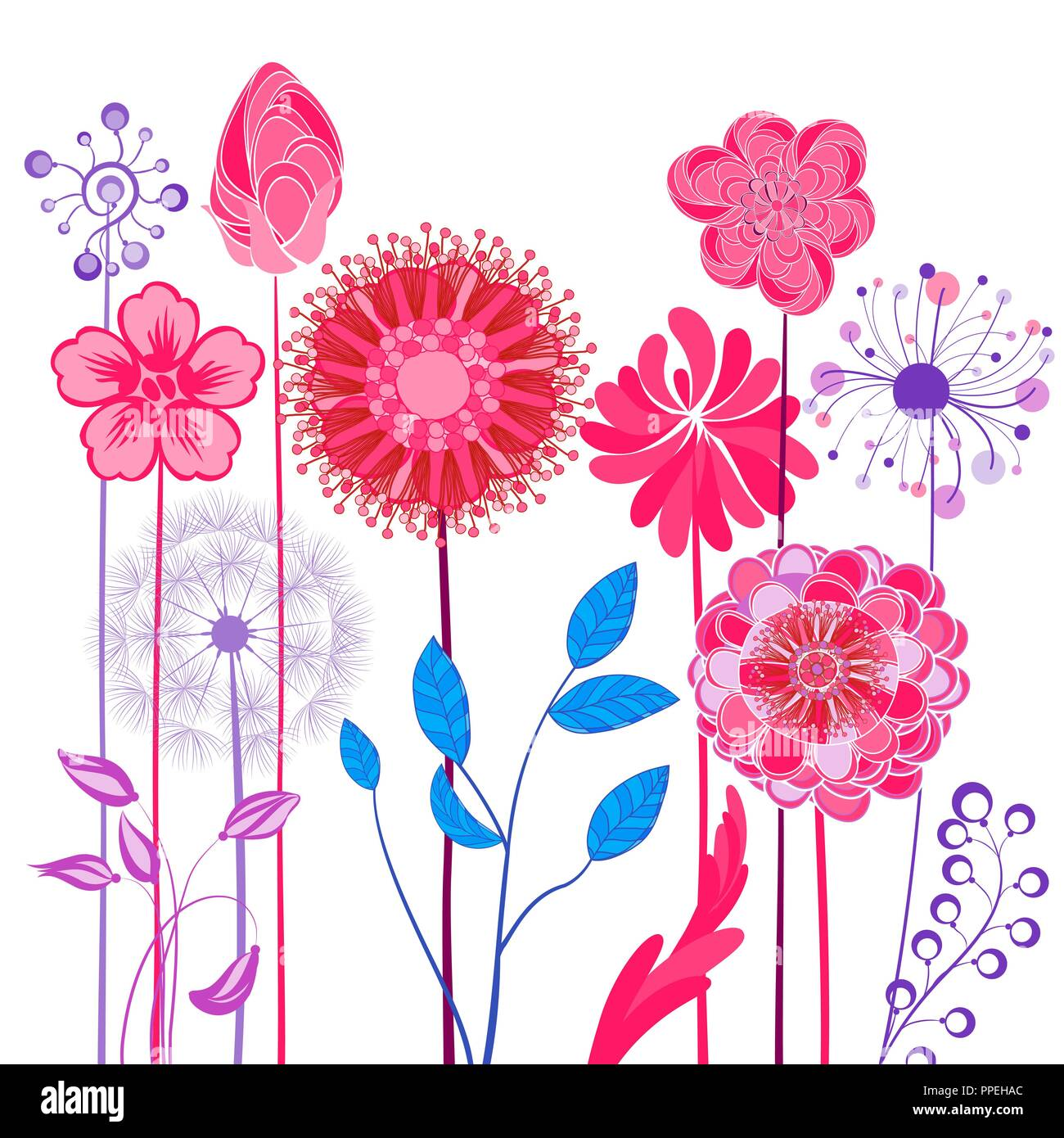Abstract Design Flowers Spring Summer Floral Background