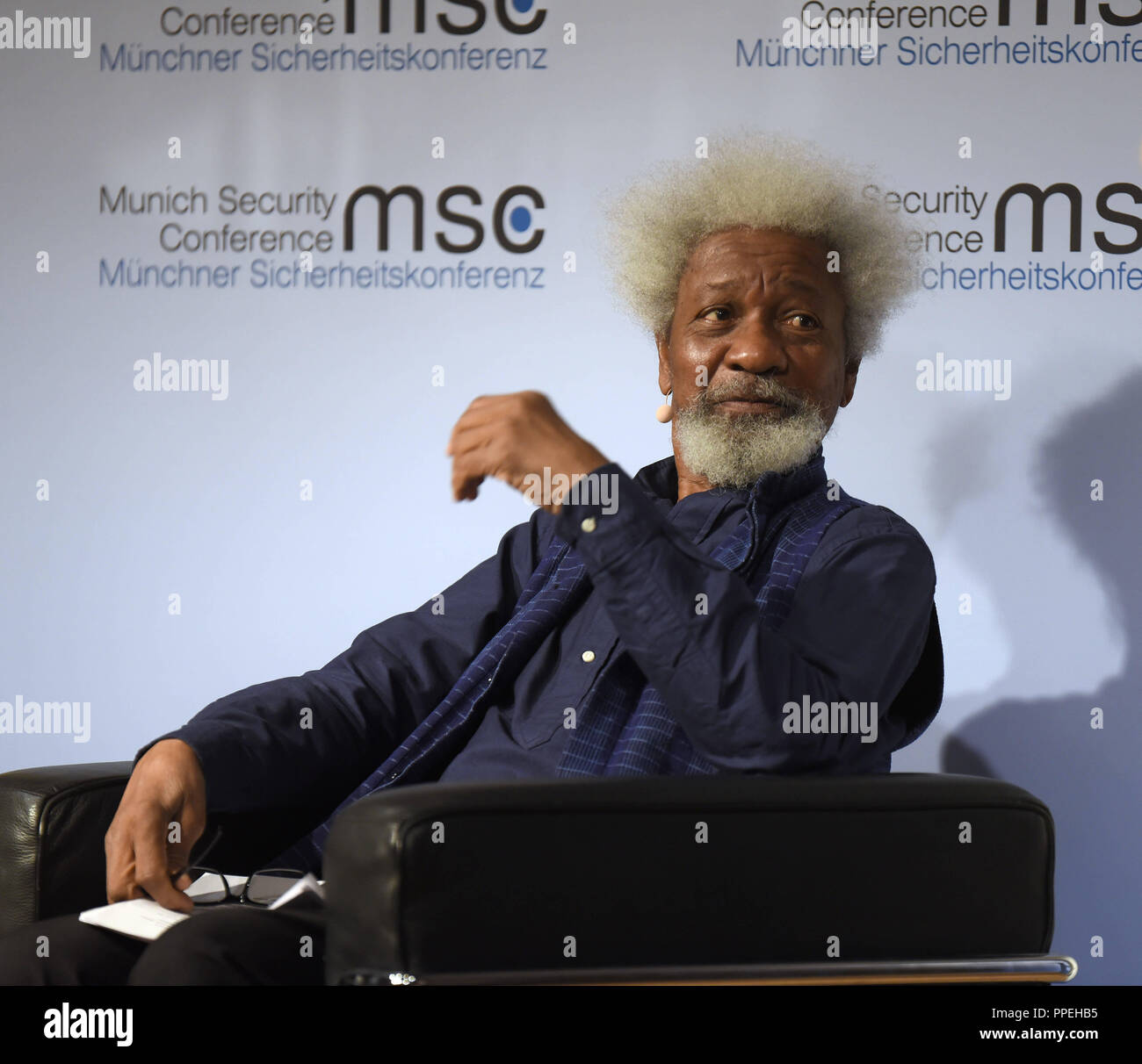 """The Nigerian writer and Nobel Prize laureate Wole Soyinka at a literary event in the Munich Literaturhaus. The three-part event entitled """"The Kassandra Phenomenon - Writers as seismographers of our time"""" is part of the framework program of the Munich Security Conference. Stock Photo"""