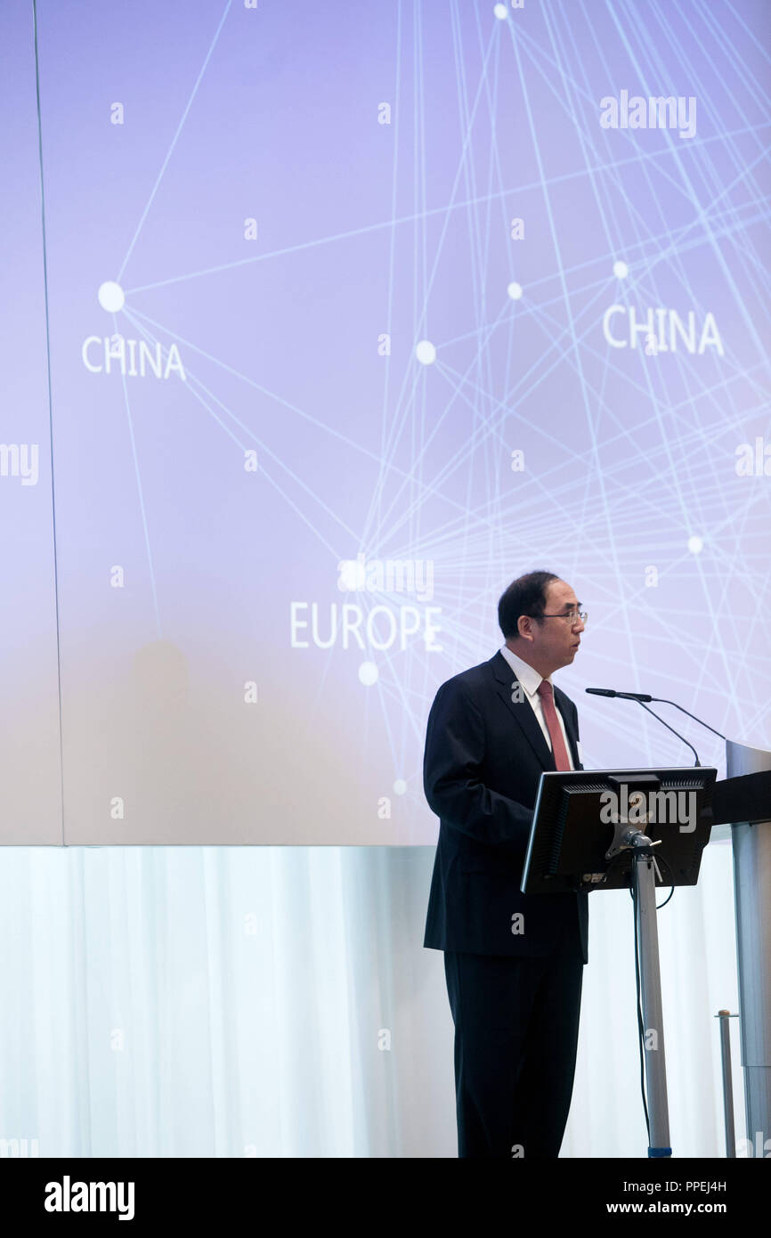Yu Kai, Acting President of the China Automotive Technology & Research Center (Catarc), speaks at the opening of the first foreign office of Catarc at Max-Joseph-Strasse 5 in Munich. The subsequent seminar will be held under the motto 'Development Policy, Standarts and Regulation of the Chinese Automobile Industry'. - Stock Image