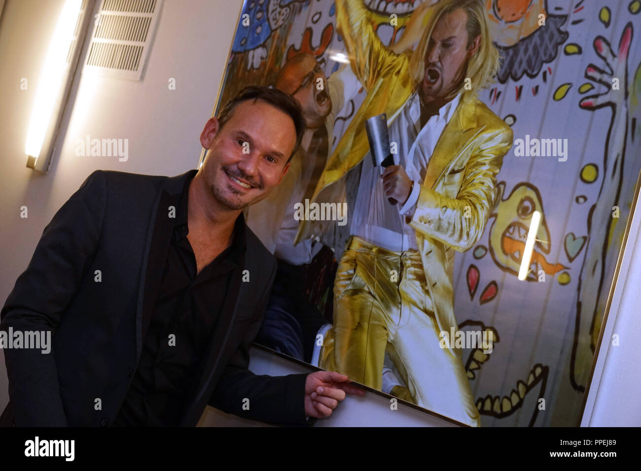 The Polish baritone Mariusz Kwiecien is celebrating at the hotel 'Bayerischer Hof' following the premiere of the Donzetti opera 'La Favorite' in the Bavarian State Opera. - Stock Image
