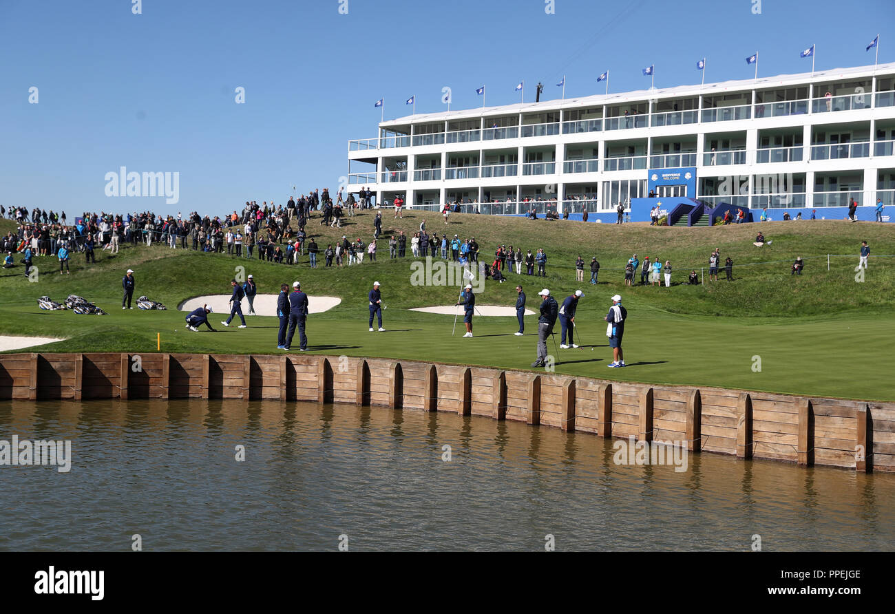 team europe players on the 16th green during preview day two of the ryder cup at - Paris Must See