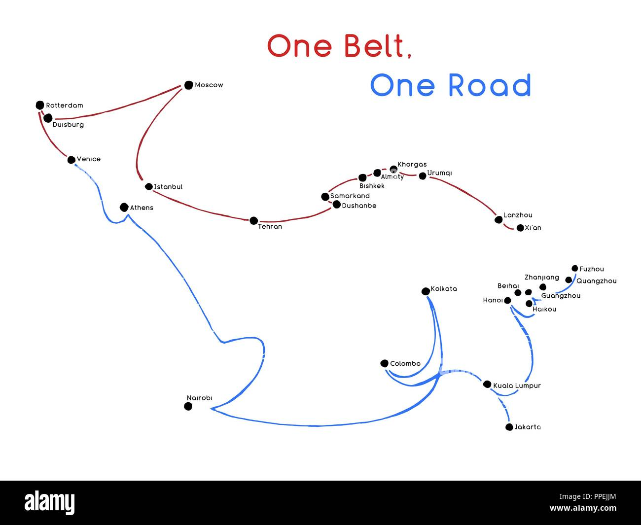 One Belt One Road new Silk Road concept. 21st-century connectivity and cooperation between Eurasian countries. Vector illustration. - Stock Image