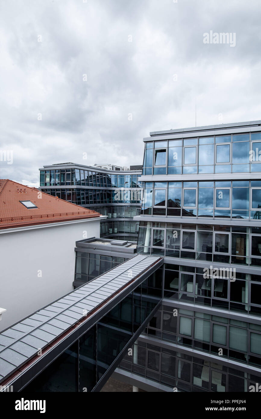 View from the roof terrace of the new building of the Siemens corporate headquarters at Wittelsbacherplatz between Altstadtring and Kardinal-Doepfner-Strasse. Stock Photo