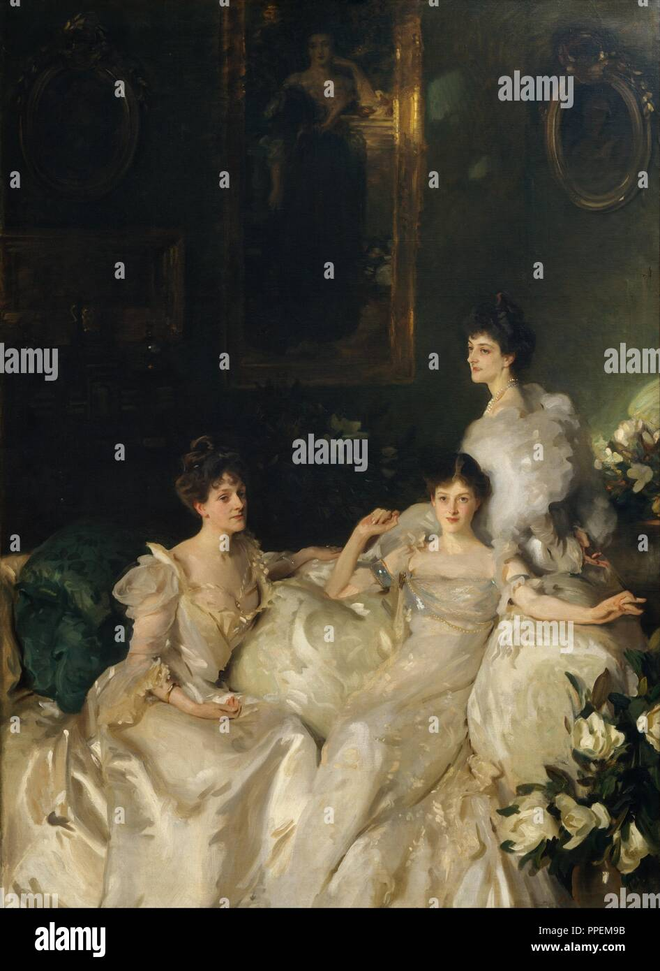 The Wyndham Sisters: Lady Elcho, Mrs. Adeane, and Mrs. Tennant. Artist: John Singer Sargent (American, Florence 1856-1925 London). Dimensions: 115 x 84 1/8 in. (292.1 x 213.7 cm). Date: 1899.  The three daughters of the Honorable Percy Wyndham, a wealthy Londoner, appear in this monumental canvas. From the left, they are Madeline Adeane (1869-1941), Pamela Tennant (1871-1928), and Mary Constance, Lady Elcho (1862-1937). Sargent painted them in the drawing room of their family's residence on Belgrave Square. Seen on the wall above them is George Frederic Watts's portrait of their mother (privat - Stock Image