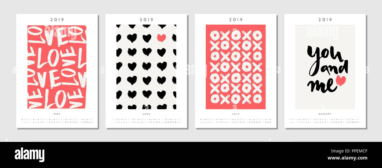 Four printable A4 size 2019 calendar templates for May, June