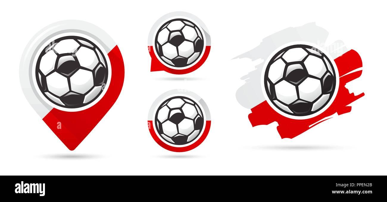 Polish football vector icons. Soccer goal. Set of football icons. Football map pointer. Football ball. Soccer ball vector sign. Scoring a goal - Stock Vector