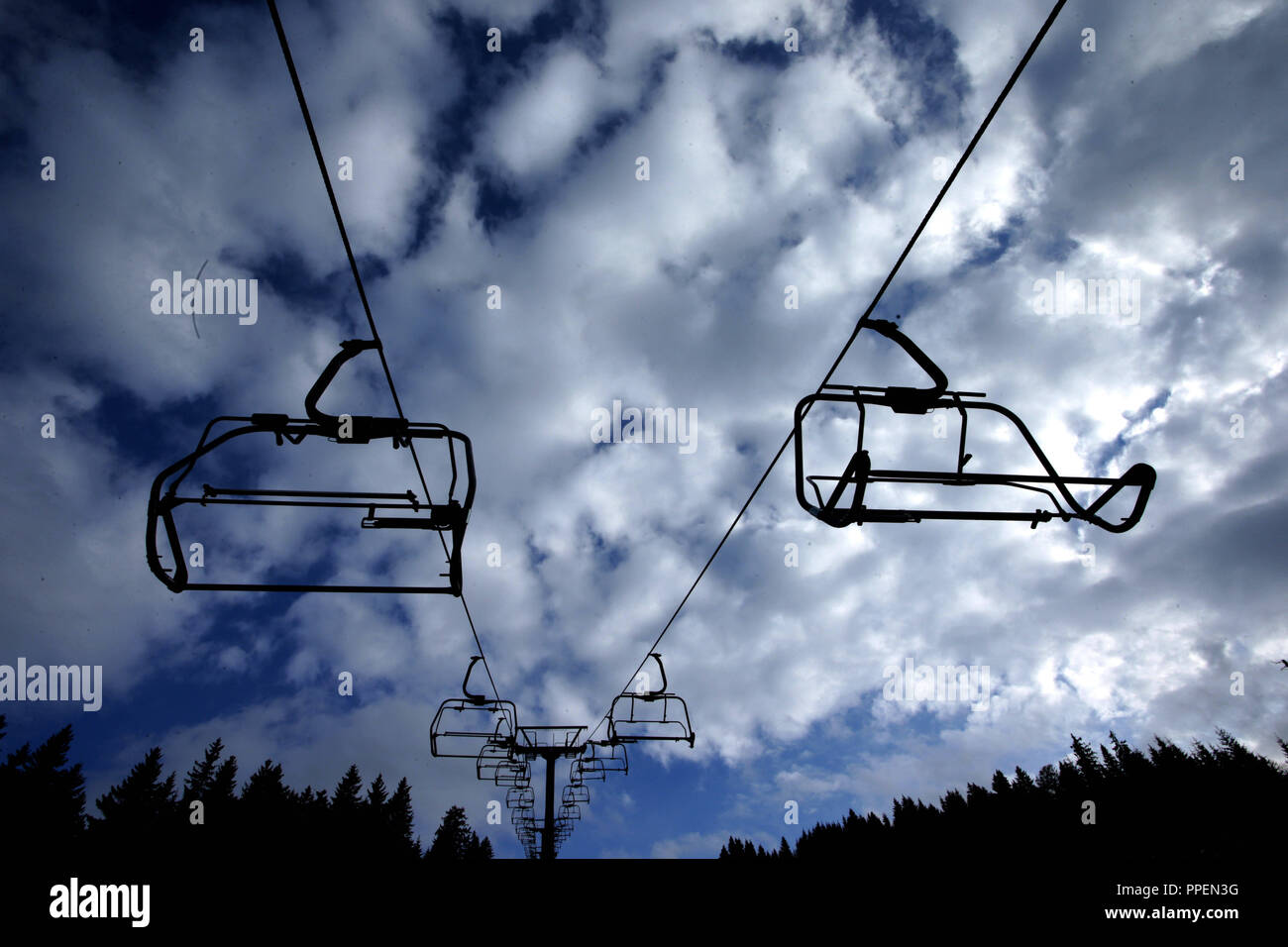 Chairlift at the Walleralm in the ski area on the the Upper Bavarian Sudelfeld. - Stock Image