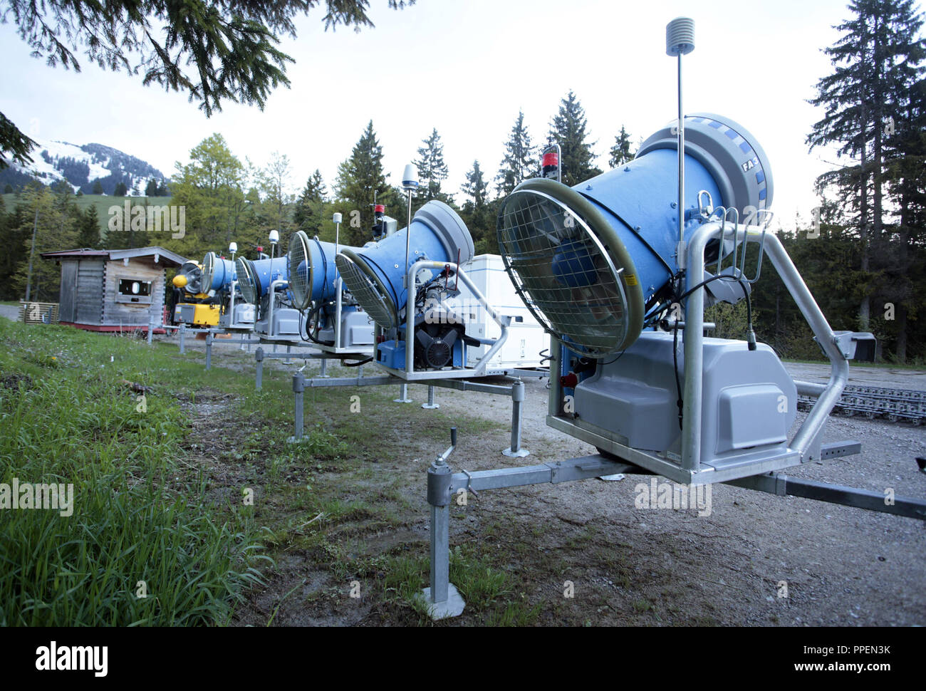 Depot for snow cannons for the ski resort on the Upper Bavarian Sudelfeld. - Stock Image