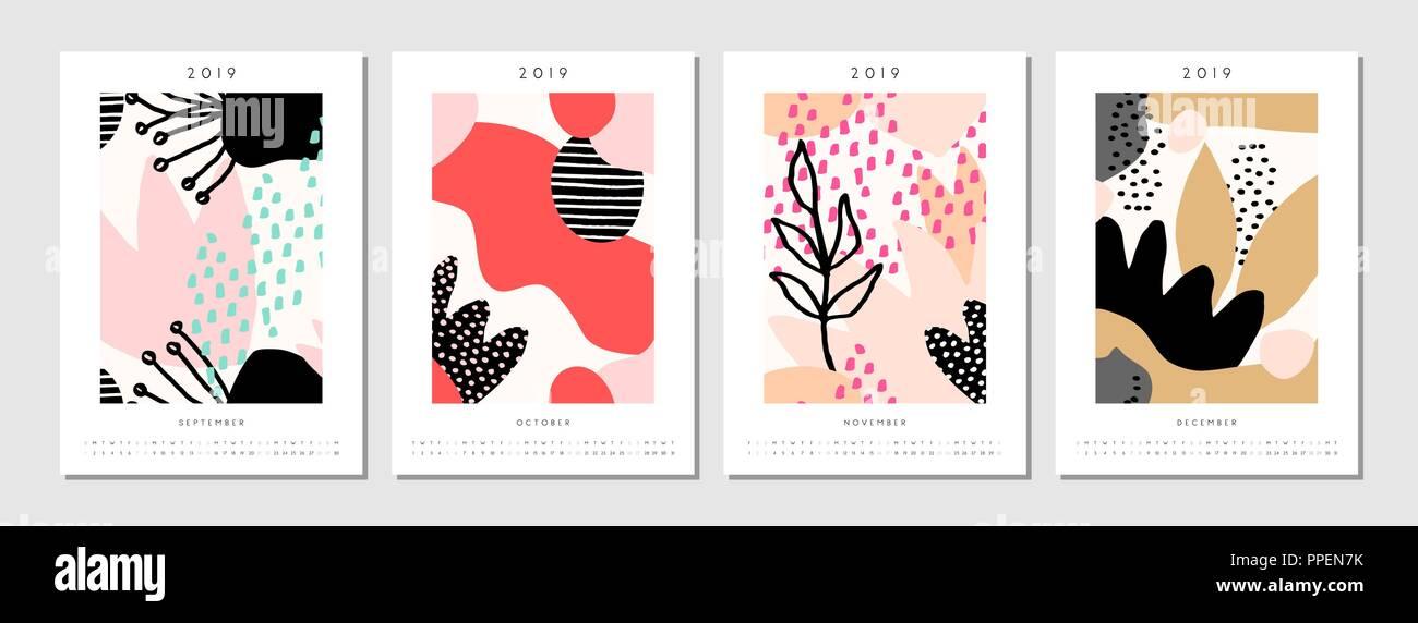 Four Printable A4 Size 2019 Calendar Templates For September