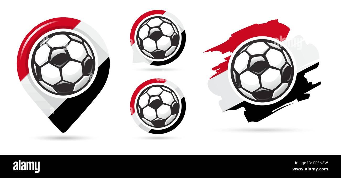 Egyptian football vector icons. Soccer goal. Set of football icons. Football map pointer. Football ball. Soccer ball vector sign. Scoring a goal - Stock Vector