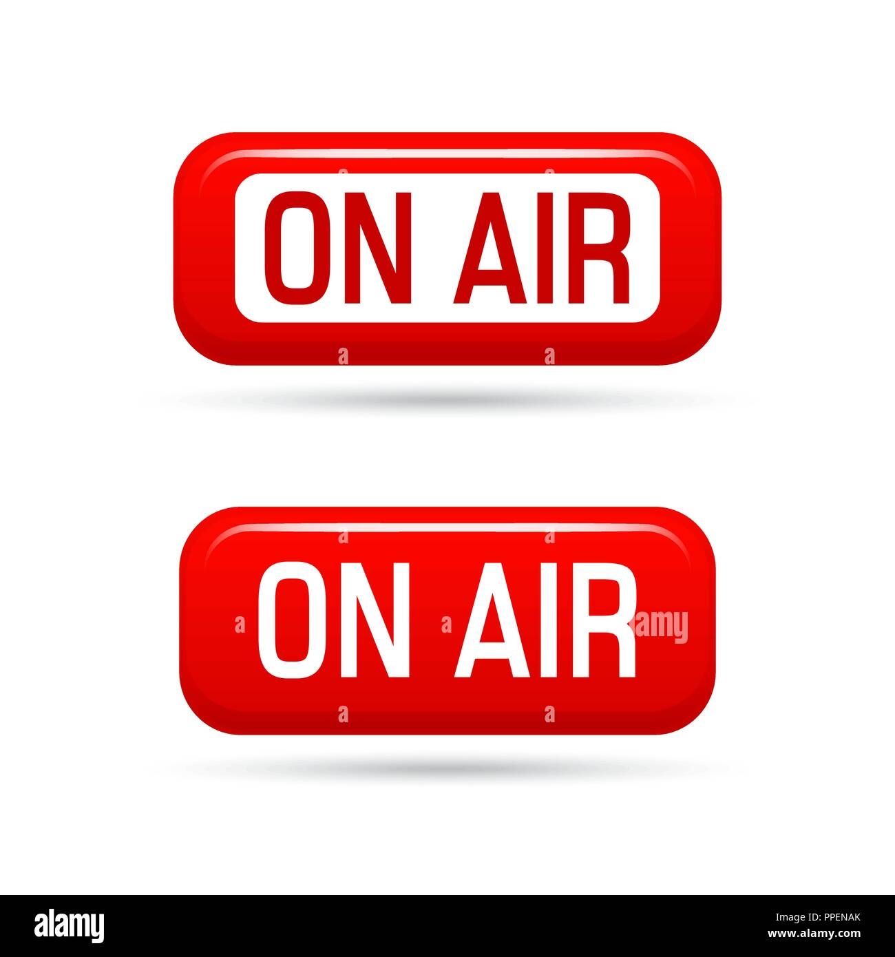 On air vector sign isolated on white background. Live stream symbol. Illustrration on-air sign, broadcast media sound, radio and television record. On - Stock Image