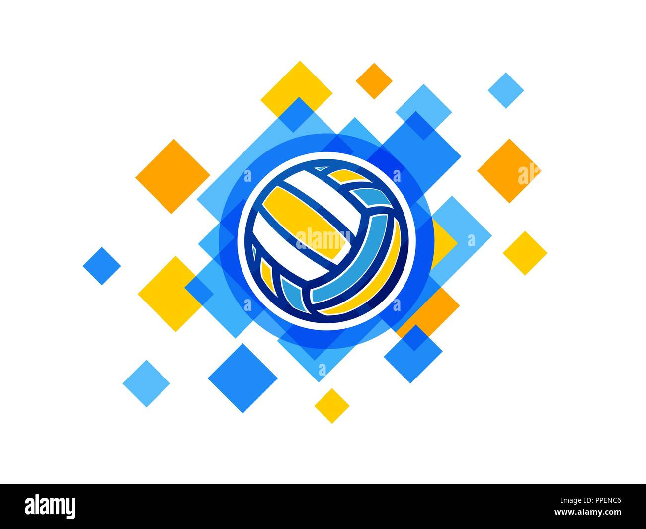Background Abstract Sport Volleyball Blue Yellow Ball: Vector Volleyball Ball Symbol. Volleyball Championship