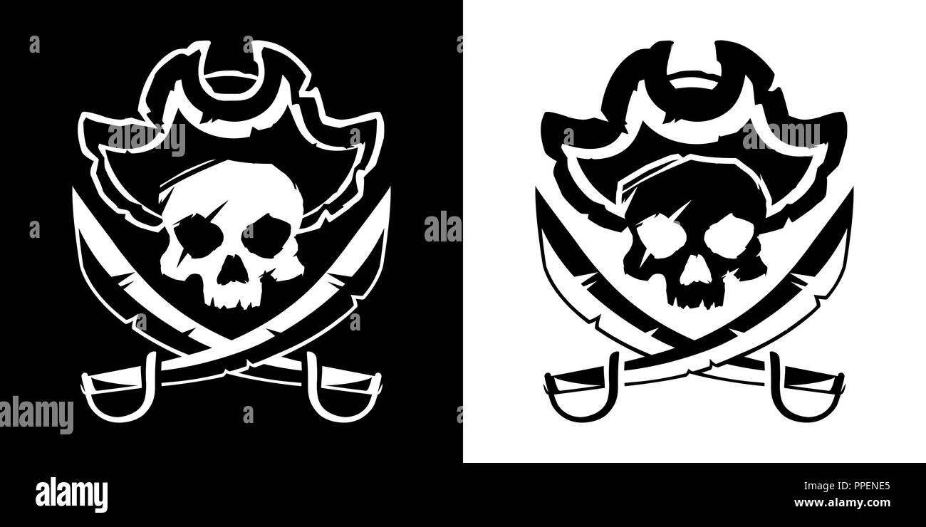 Jolly Roger skull in a hat and crossed swords symbol vector illustration - Stock Image