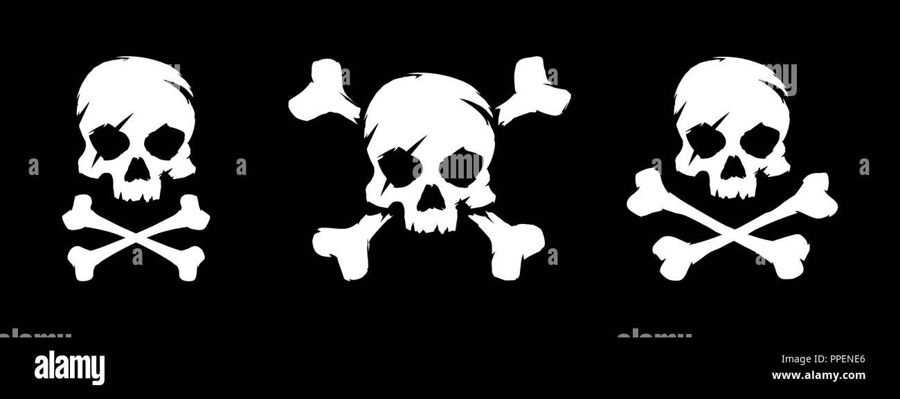 Set Of Skull And Bones Vector Illustration Pirate Symbol Stock