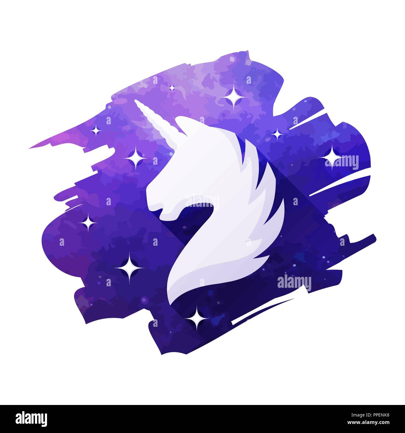 Unicorn head vector illustration isolated on white background. Silhouette of a unicorn - Stock Vector