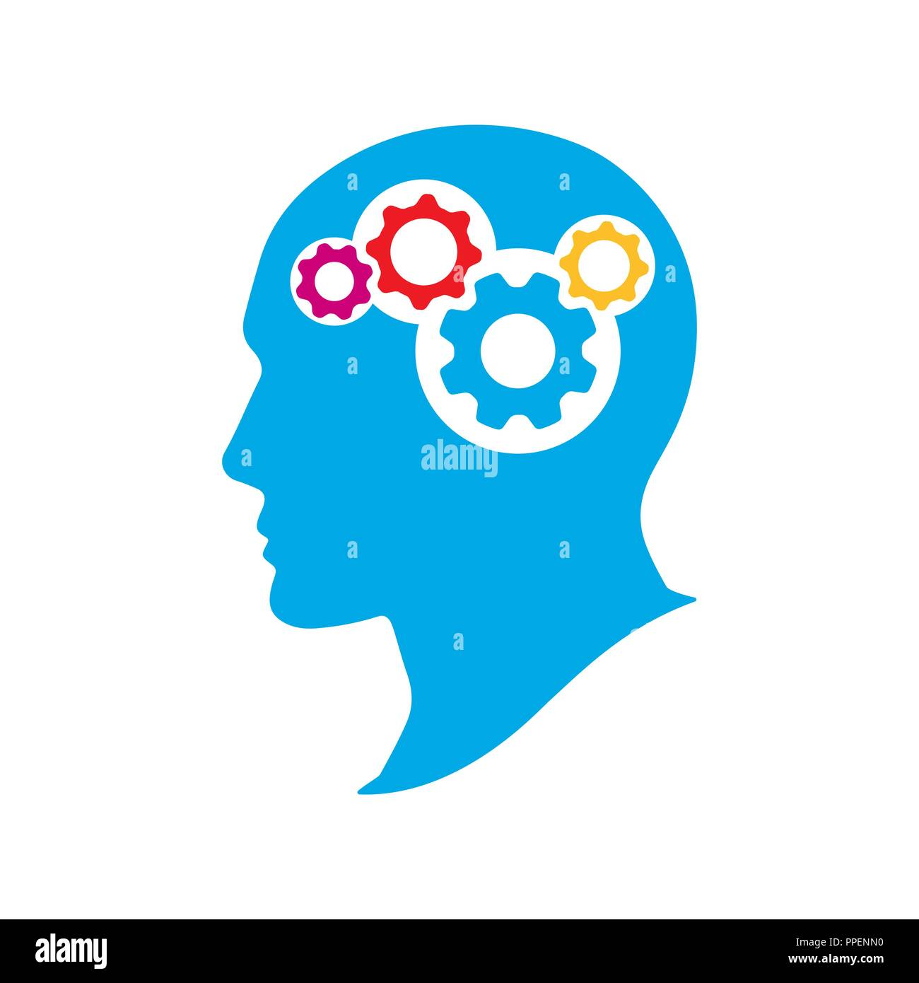 Silhouette human head with gears. Thinking brain vector illustration. Strategic thinking and planning concept. - Stock Vector