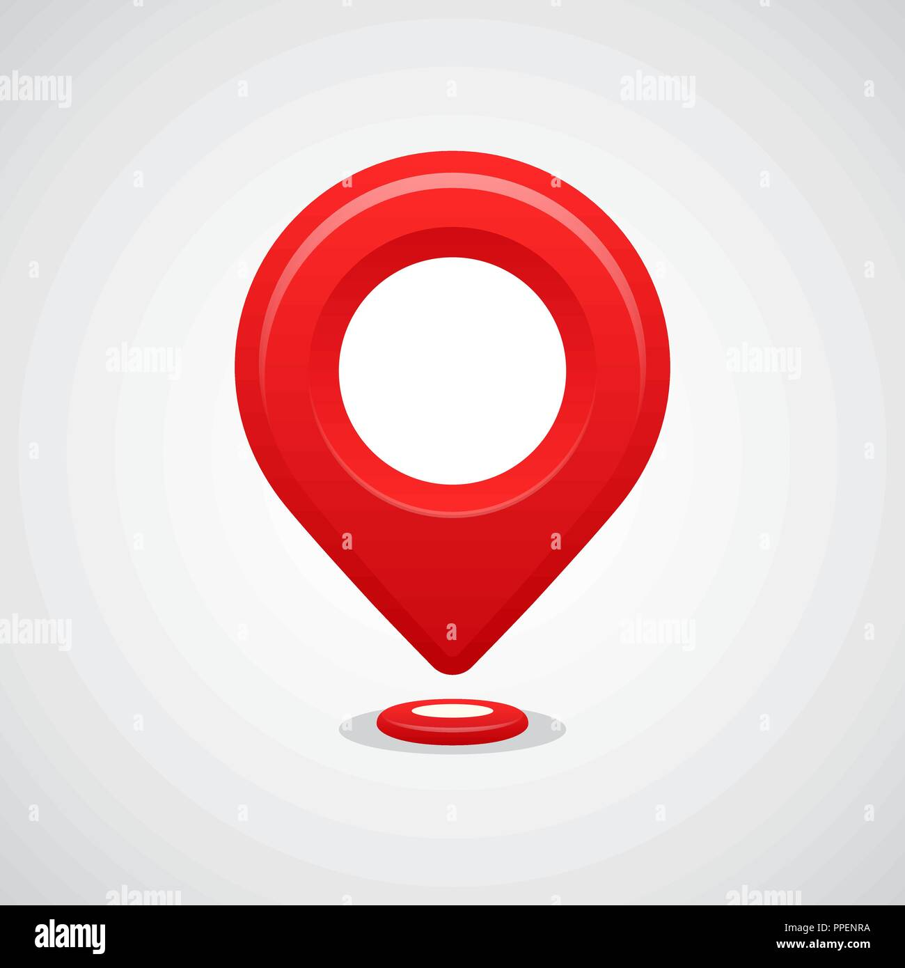 Red map pin pointer location vector icon. GPS navigation. - Stock Vector
