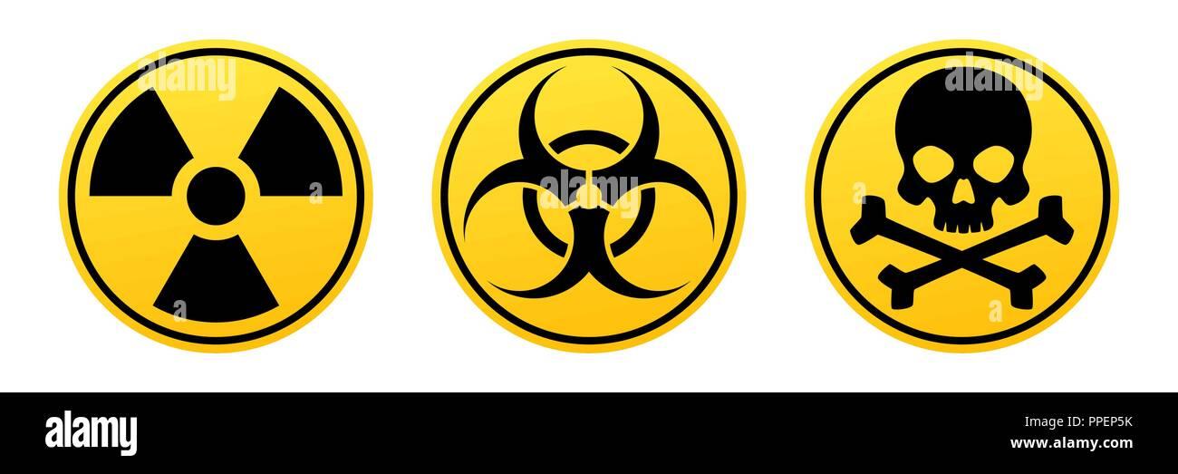 Danger yellow vector signs. Radiation sign, Biohazard sign, Toxic sign. Warning signs - Stock Vector