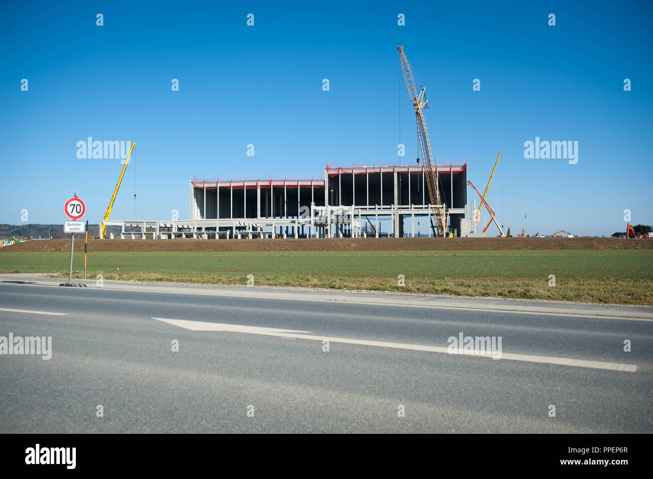 The site of the controversial Netto logistics center in Erharting at Muehldorf. Despite civil protests the government of Upper Bavaria declared the development plan legitimate. - Stock Image
