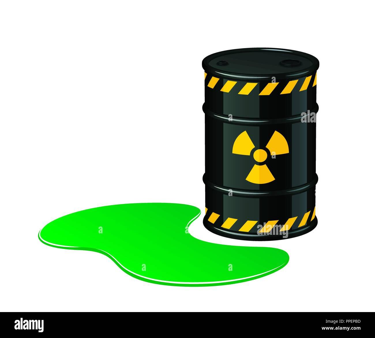 Barrel of toxic waste. Radioactive waste vector ...