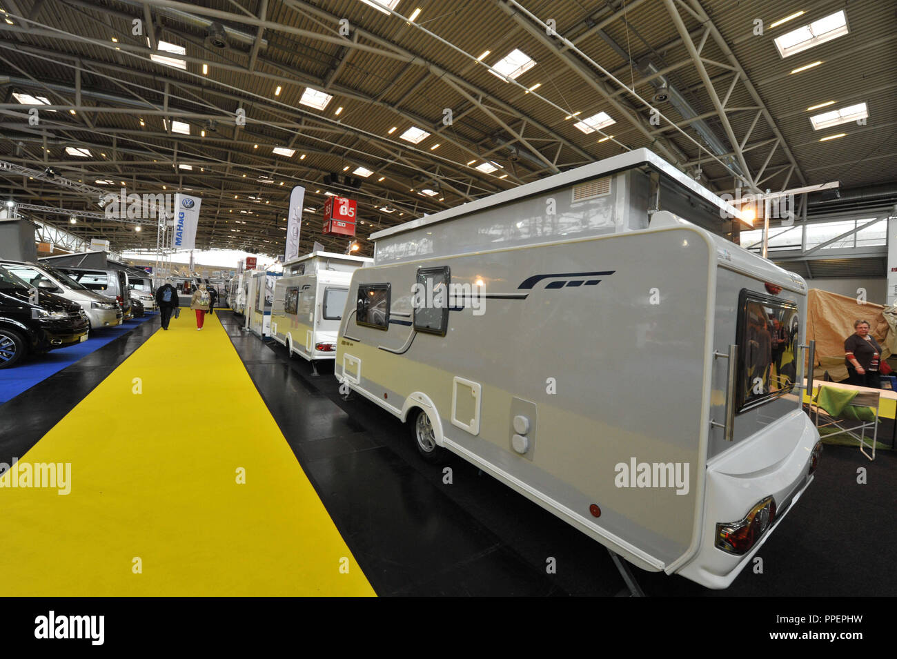 Mobile homes at the fair 'Free' in Munich, Germany Stock Photo