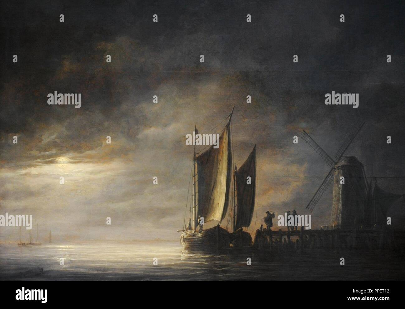 Albert Jacob Cuyp (1620-1691). Dutch painter. Dordrecht Harbour in Moonlight, ca.1645. Wallraf-Richartz Museum. Cologne. Germany. - Stock Image