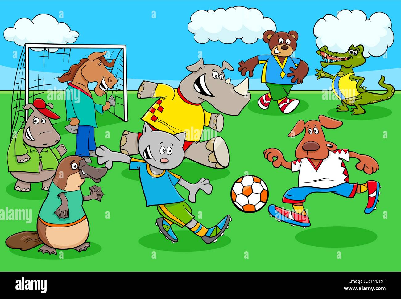 Cartoon Illustrations of Animal Football or Soccer Player Characters Playing Match - Stock Vector