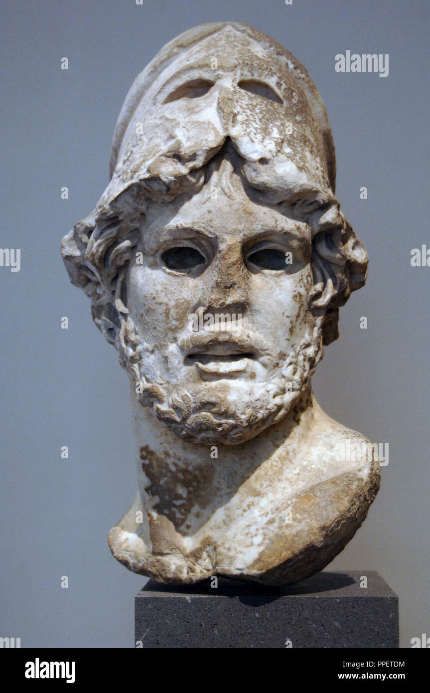 Roman Art. Marble head of a Greek general. 1st-2nd century A.D. Copy of a Greek bronze statue of the middle of the 4th century B.C. Metropolitan Museum of Art. New York. United States. - Stock Image