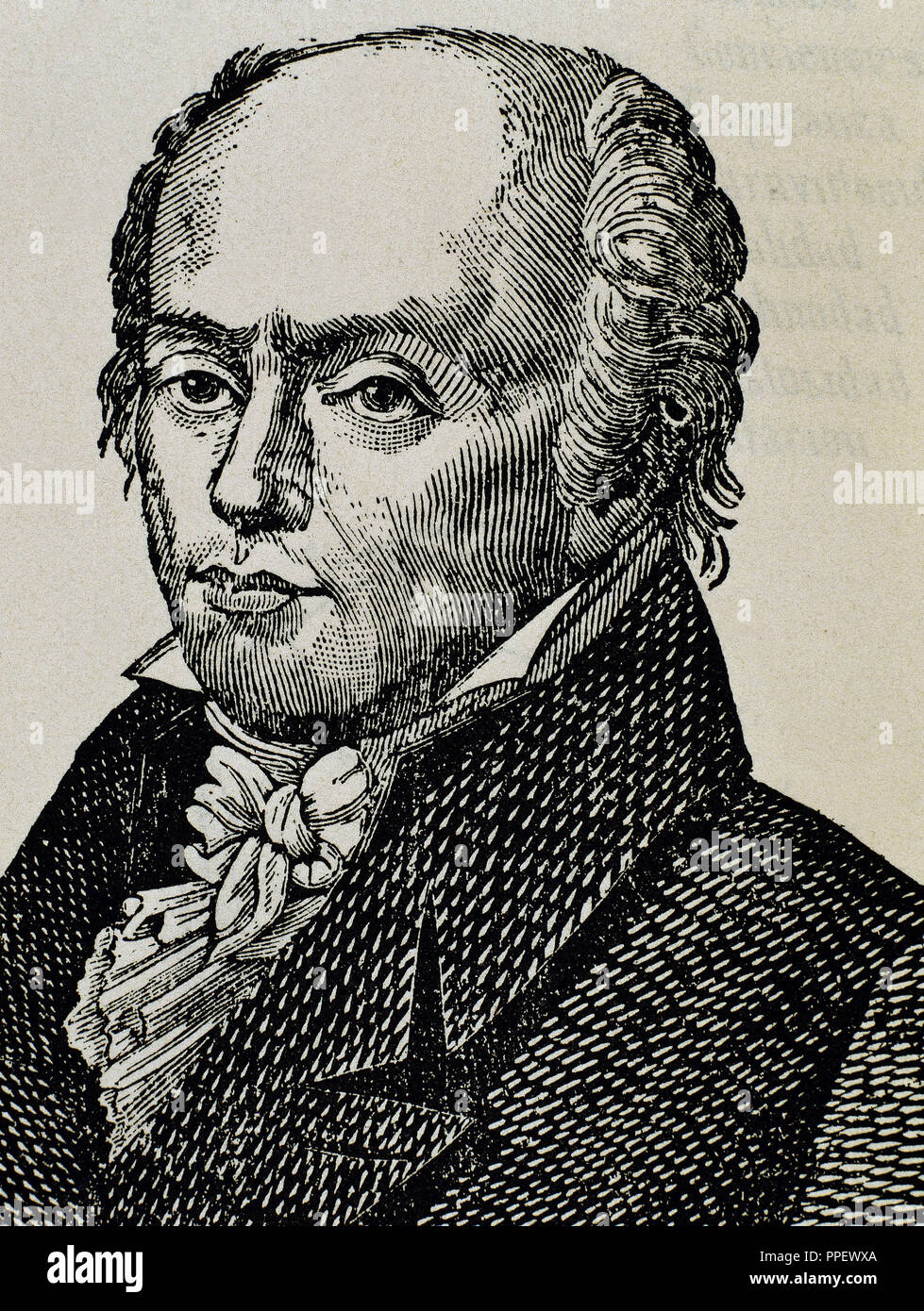 Franz Joseph Gall (1758 -1828). Neuroanatomist, physiologist, and pioneer in the study of the localization of mental functions in the brain. Engraving. - Stock Image