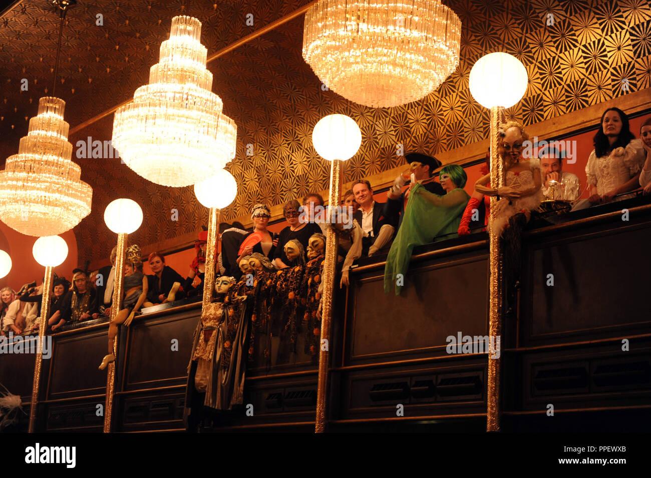 Gallery at the Gauklerball (Juggler's Ball) in the Kuenstlerhaus in Munich. - Stock Image