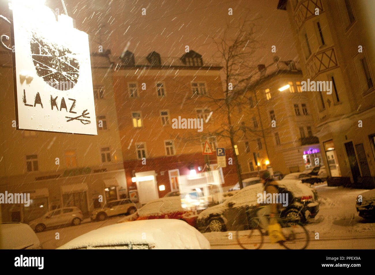 Sign of the restaurant 'La Kaz' in the Kazmairstrasse on the Schwanthalerhoehe, a few days before the official opening. - Stock Image
