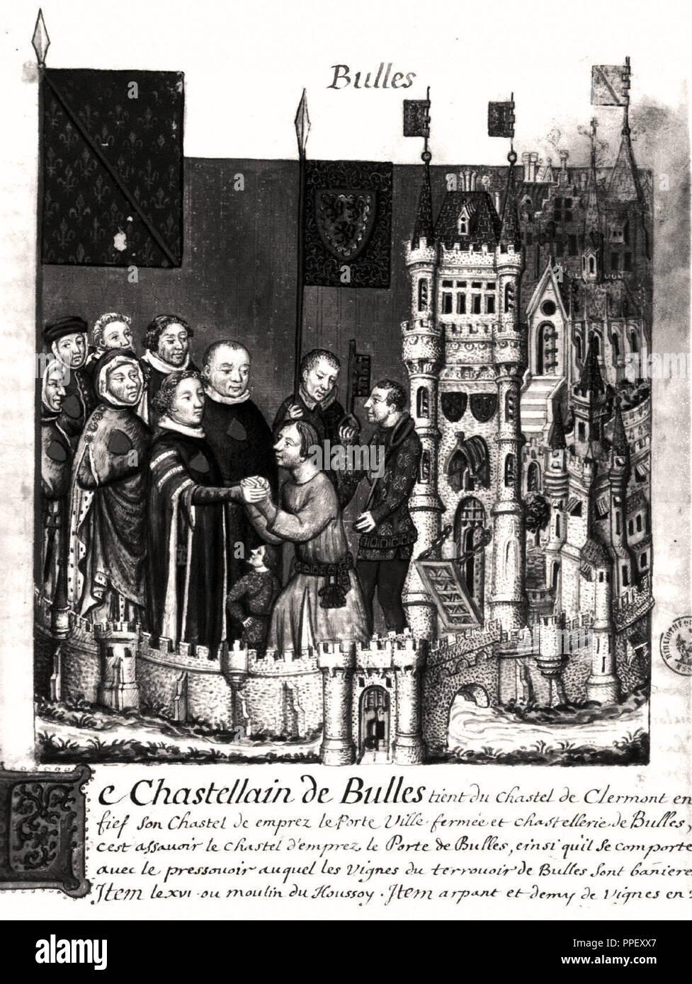 TRIBUTO AL CONDE DE CLERMONT EN BEAUBAISIS (1373-1376) - COPIA DE ROBERT DE GAIGNIERES, FOLIO 171 - TRIBUTO AL LORD DE BULL. Location: BIBLIOTECA DEL ARSENAL. France. Stock Photo