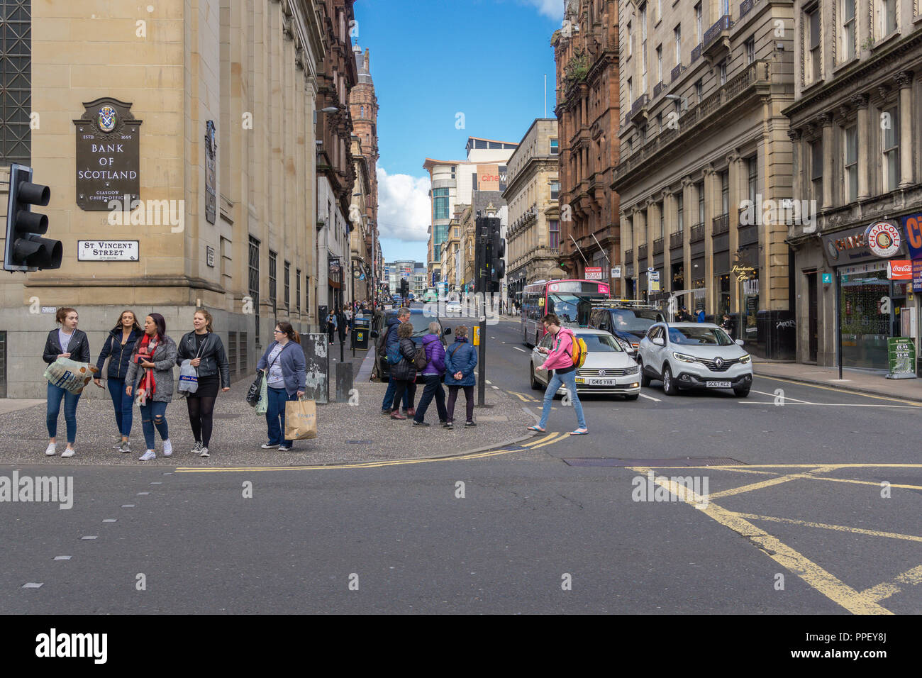 Glasgow City, Scotland, UK - September 22, 2018: Looking up Renfield Street Glasgow with pedestrians and traffic. - Stock Image