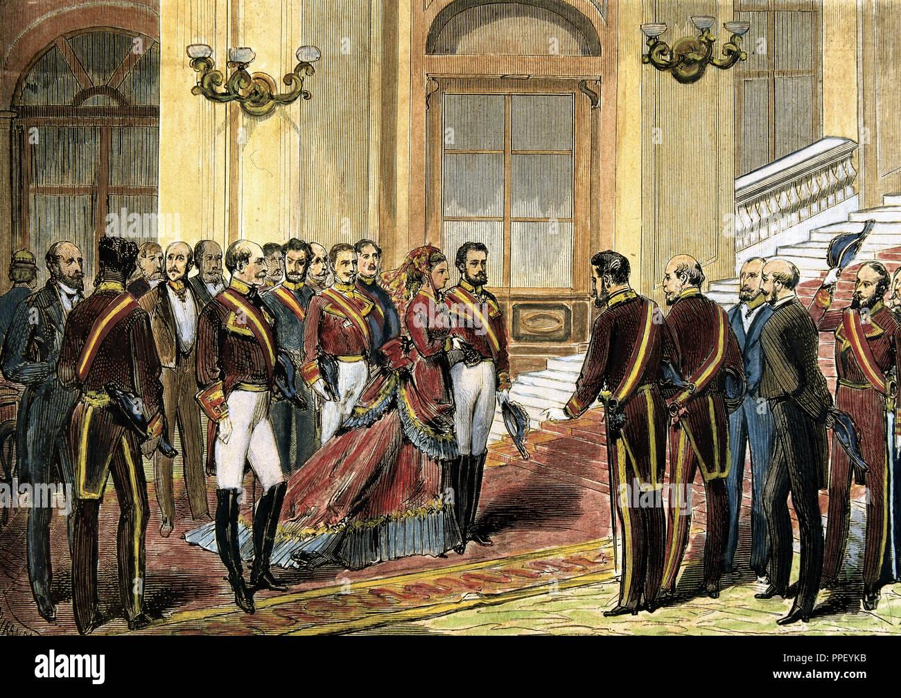 Reinado De Amadeo I Rey De España 1871 1873 Entrada En Palacio De S M La Reina