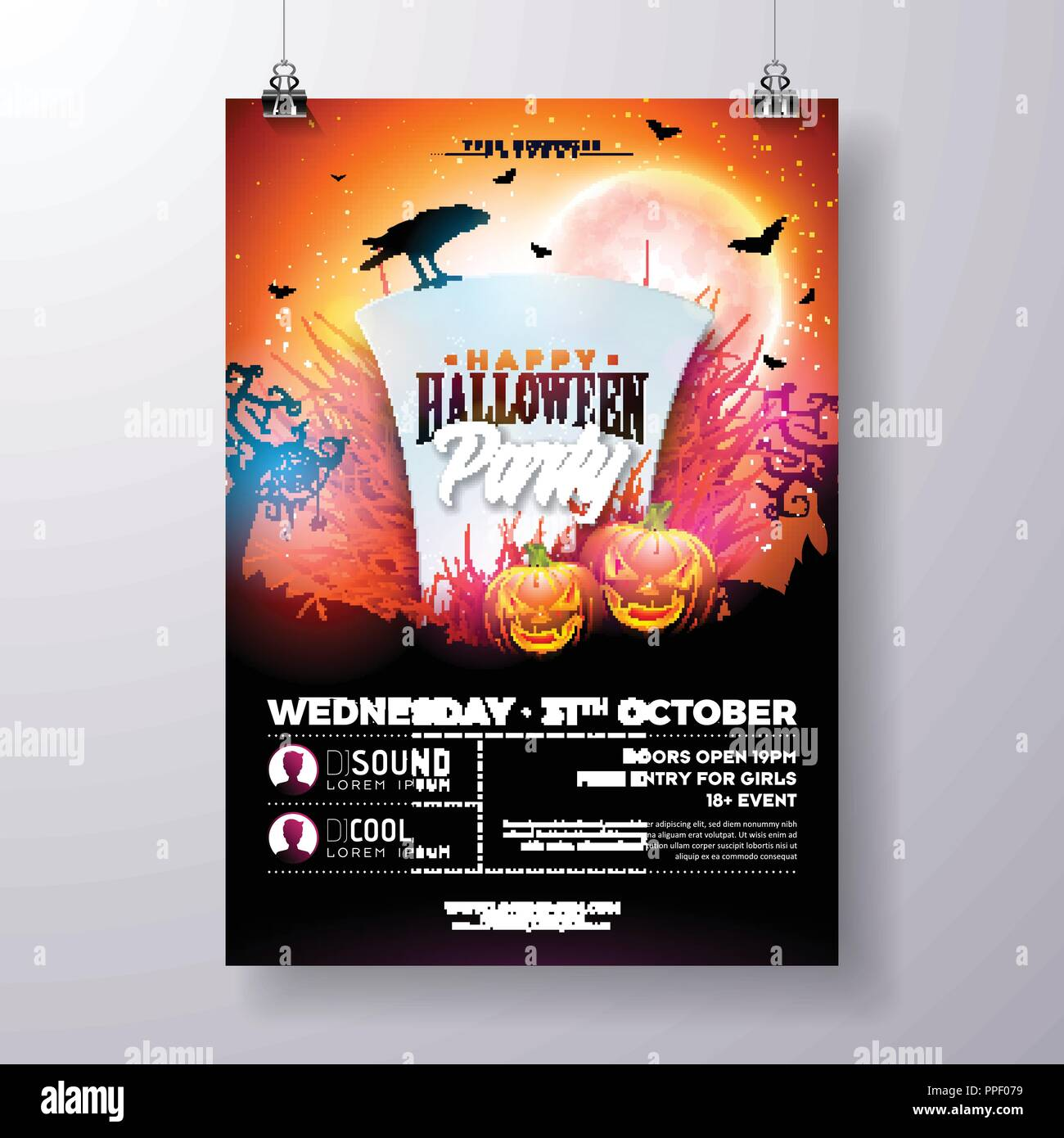 Halloween Party Flyer Vector Illustration With Tombstone And Pumpkins On Mysterious Red Background Holiday Design Template Crow Fliyng Bats For