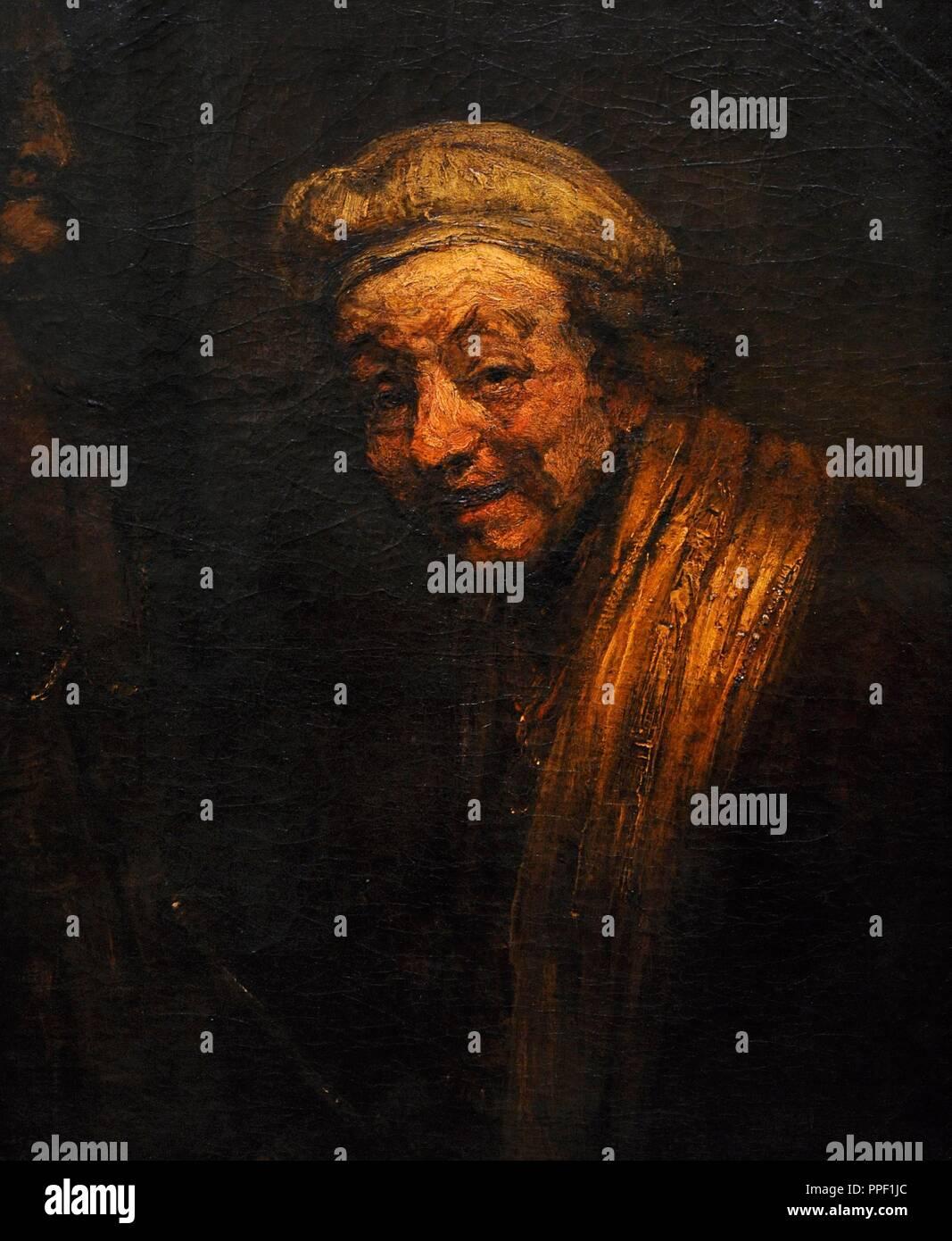 Rembrandt, Rembrandt Harmensz van Rijn, called (1606-1669). Dutch painter and printmaker. Self-portrait, 1632-1633. Wallraf-Richartz Museum. Cologne. Germany. - Stock Image