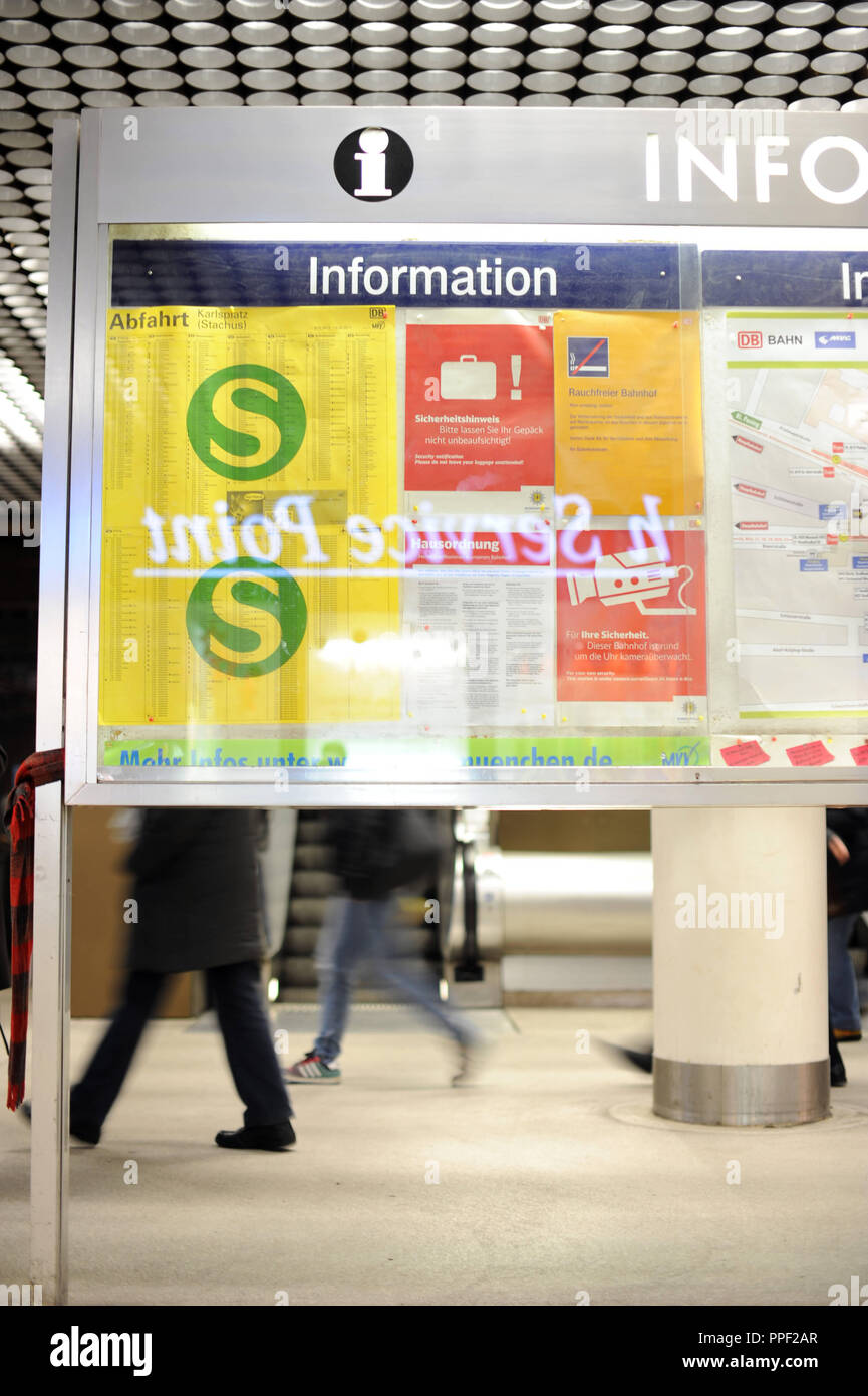 Timetable of the new departure times of MVV (Munich Transport and Tariff Association) in Stachus, Munich, Germany Stock Photo
