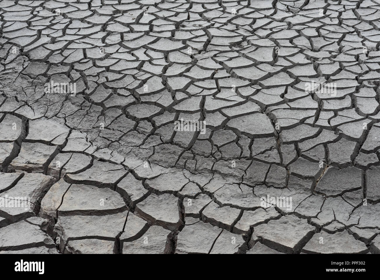 Mudcracks at the bottom of dried-out Woodhead Reservoir, Derbyshire - Stock Image