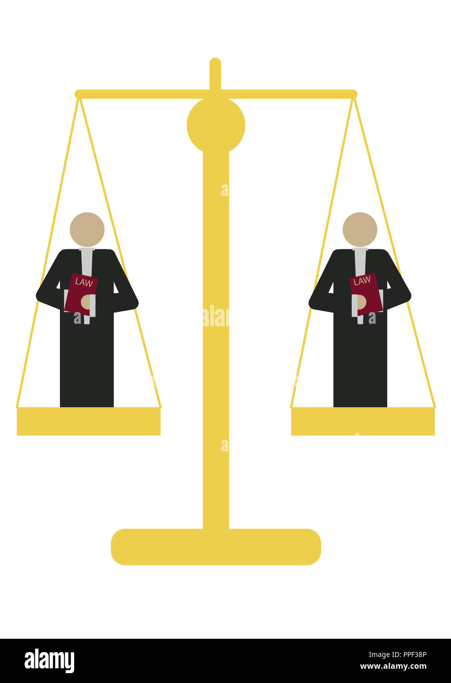 lawyers stand on a scale representing the fairness of the law - Stock Image
