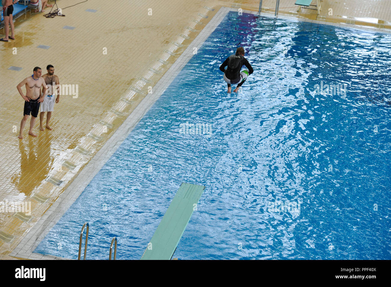 The Department of Sports of the City of Munich and the M-Baeder of Stadtwerke Muenchen organize for the first time the Munich Watersports Festival. In the picture, diver in the Olympic swimming pool. - Stock Image