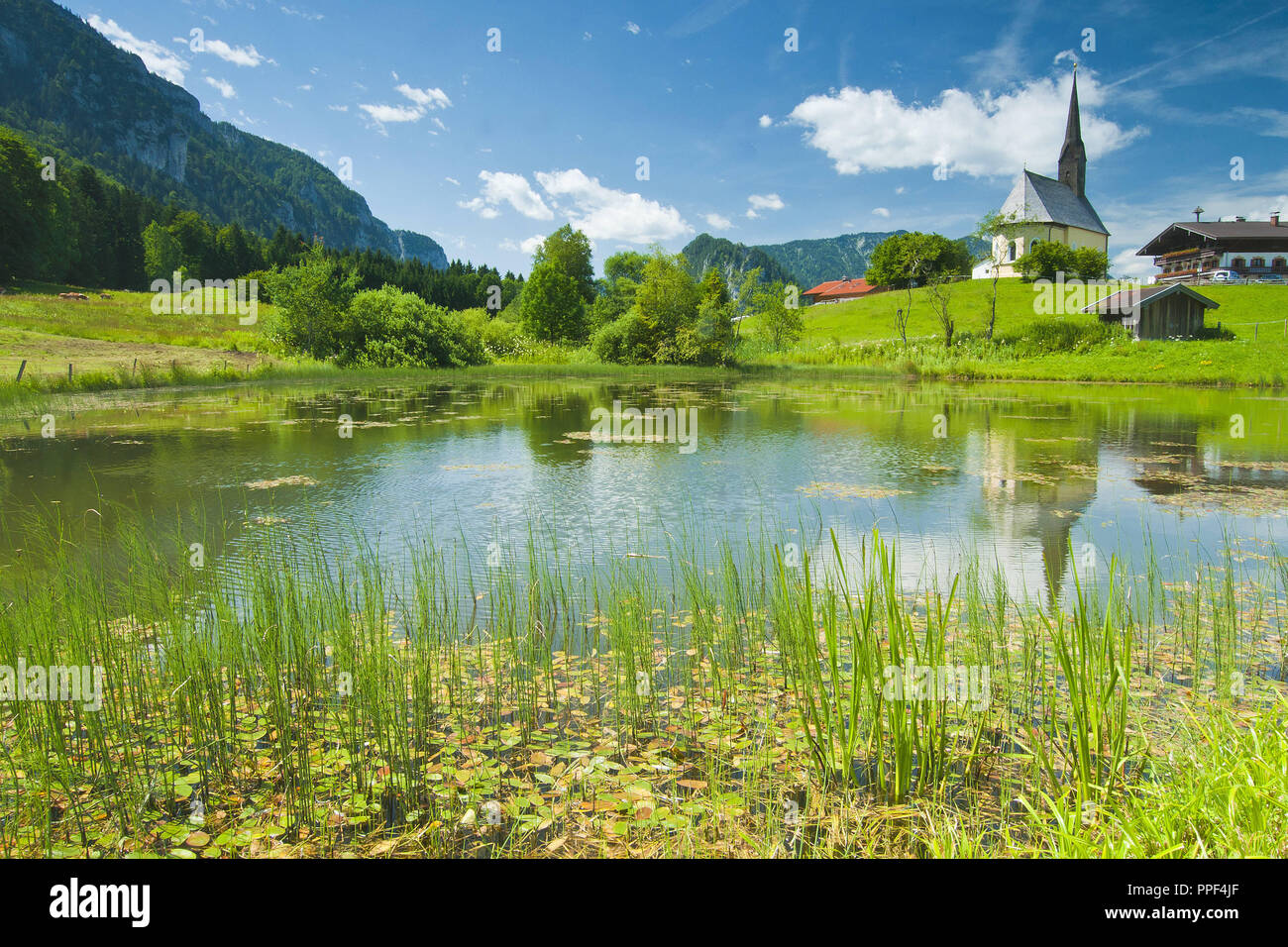 The picturesquely situated Einsiedl, municipality of Inzell, Chiemgau, Upper Bavaria. - Stock Image