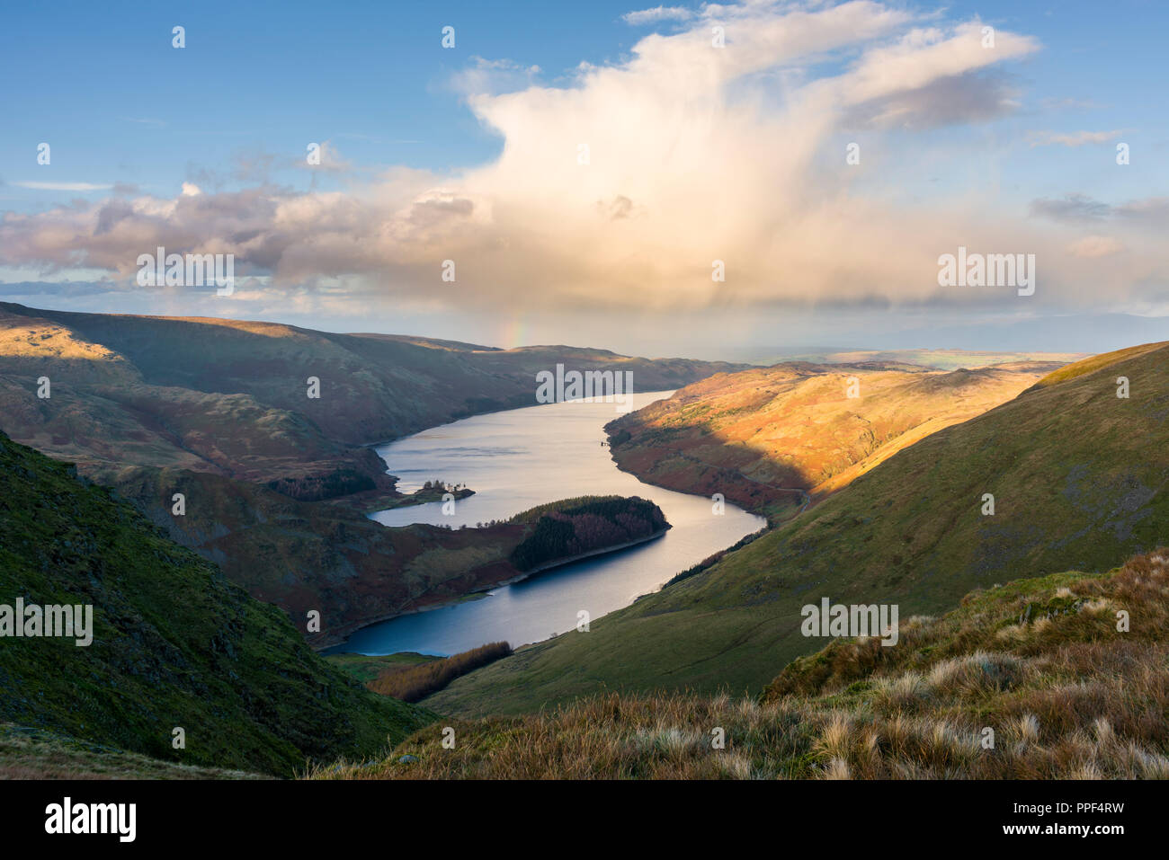 Haweswater Reservoir from Harter Fell in the Lake District National Park, Cumbria, England. - Stock Image