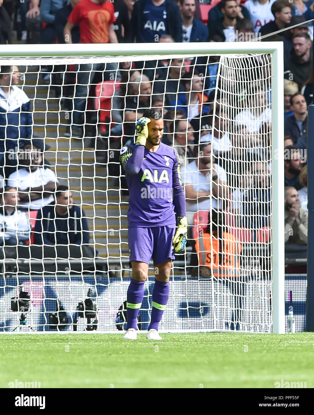 Michel Vorm of Spurs scathes his head after conceding the second goal during the Premier League match between Tottenham Hotspur and Liverpool at Wembley Stadium , London , 15 Sept 2018 Editorial use only. No merchandising. For Football images FA and Premier League restrictions apply inc. no internet/mobile usage without FAPL license - for details contact Football Dataco - Stock Image