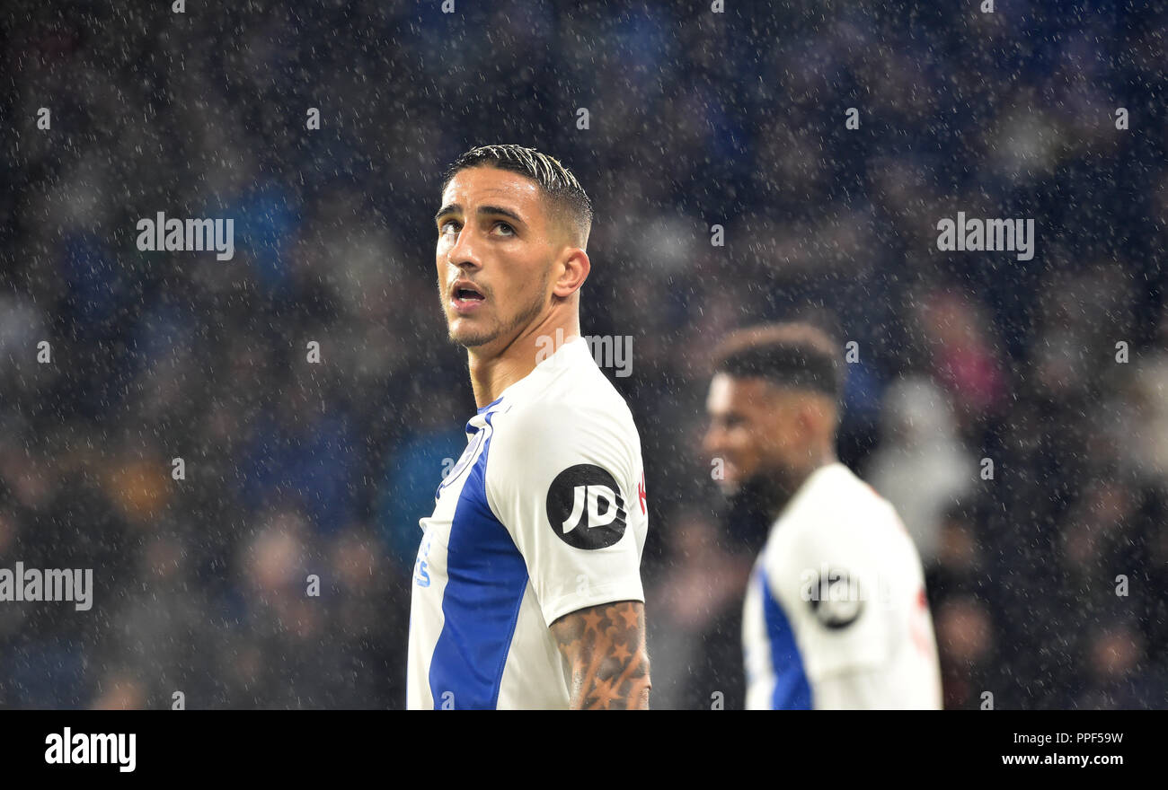Anthony Knockaert of Brighton during the Premier League match between Brighton and Hove Albion and Tottenham Hotspur at the American Express Community Stadium , Brighton , 22 Sept 2018 Editorial use only. No merchandising. For Football images FA and Premier League restrictions apply inc. no internet/mobile usage without FAPL license - for details contact Football Dataco - Stock Image