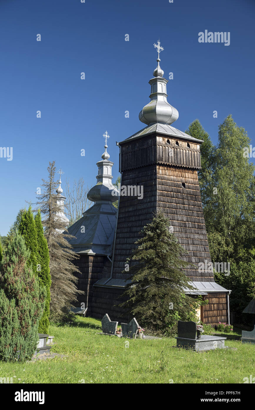 A historic, wooden Orthodox church in the south of Poland Stock Photo
