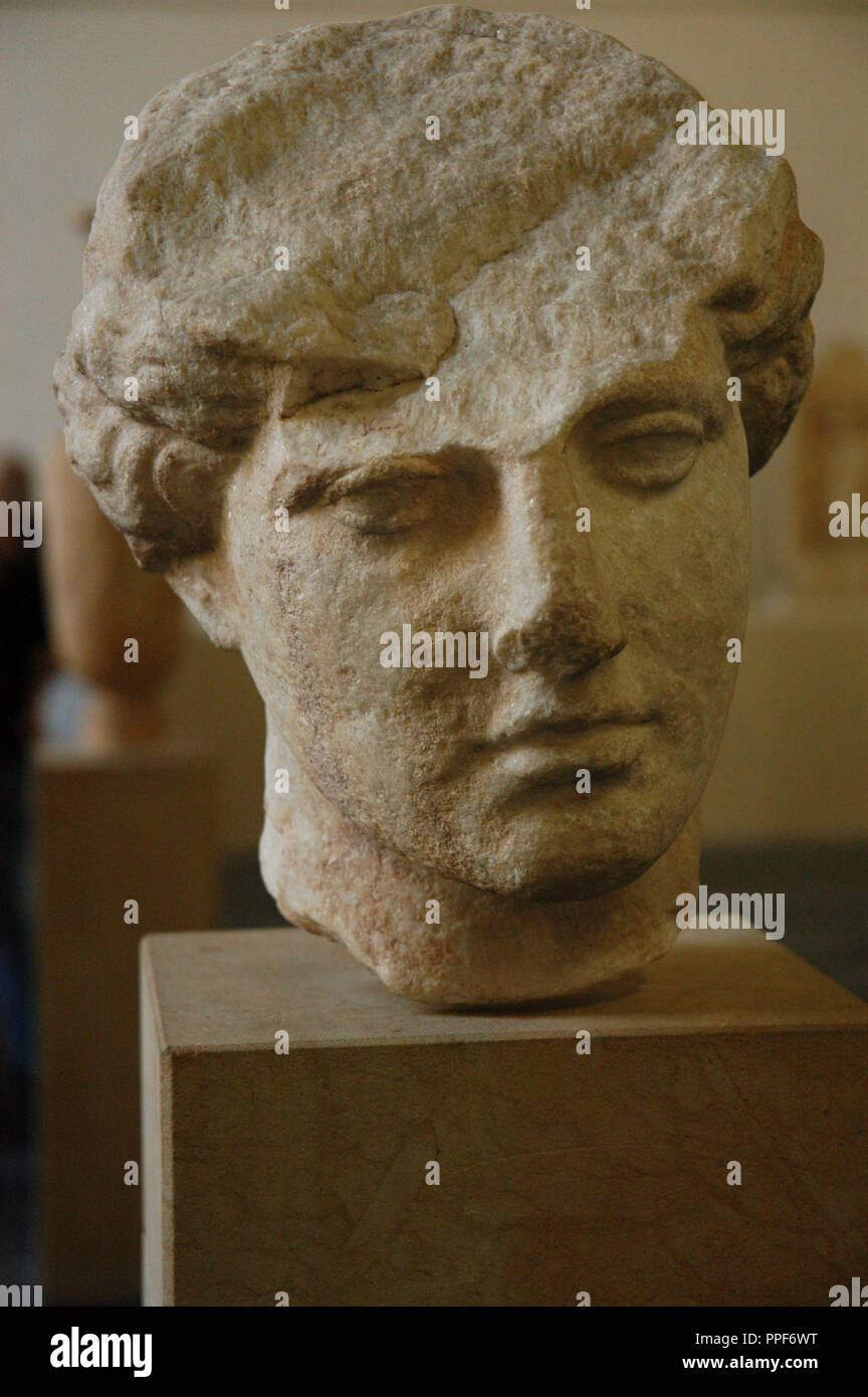 Unfinished bust of woman. 440-430 BC. Found in Athens. Pergamon Museum. Berlin. Germany. Stock Photo
