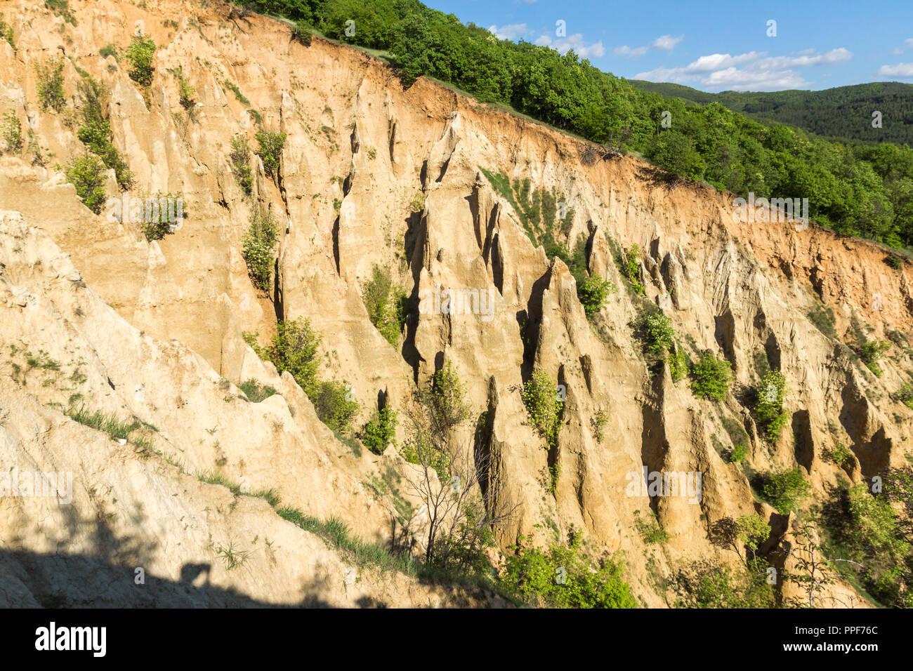 Landscape with rock formation Stob pyramids, Rila Mountain, Kyustendil region, Bulgaria - Stock Image