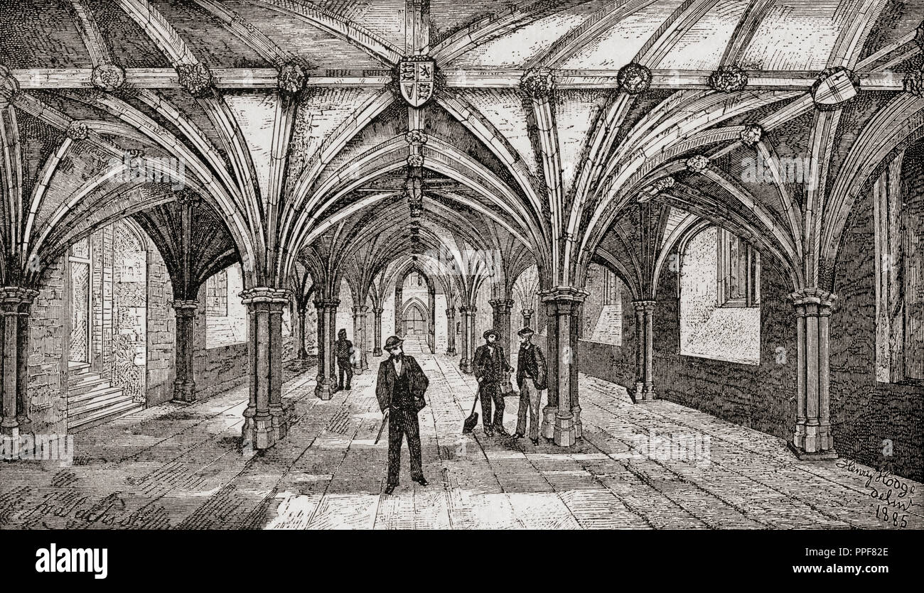 The medieval crypt of Guildhall, London, England in the 19th century.  From London Pictures, published 1890. - Stock Image