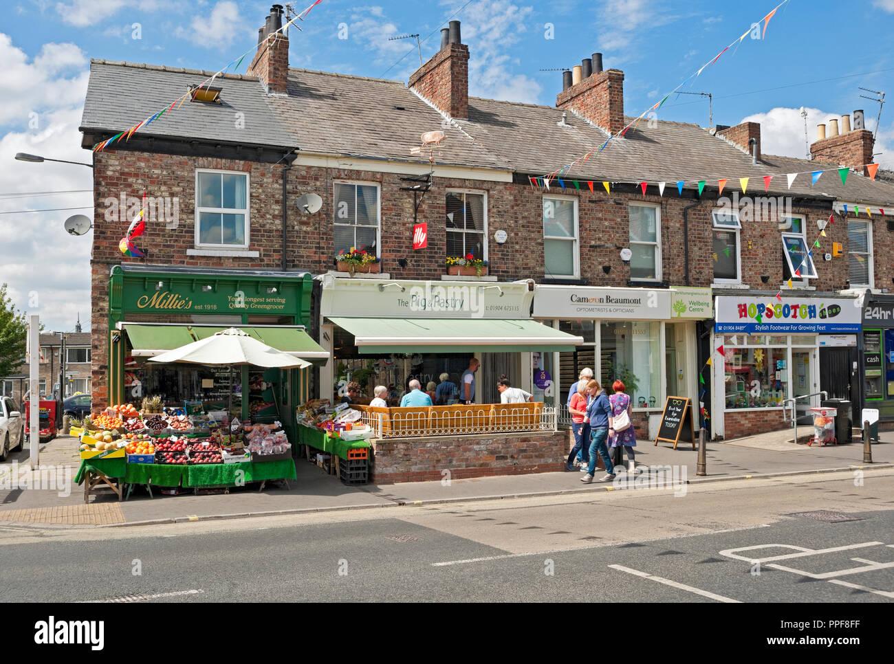 Shops on Bishopthorpe Road York North Yorkshire England UK United Kingdom GB Great Britain Stock Photo