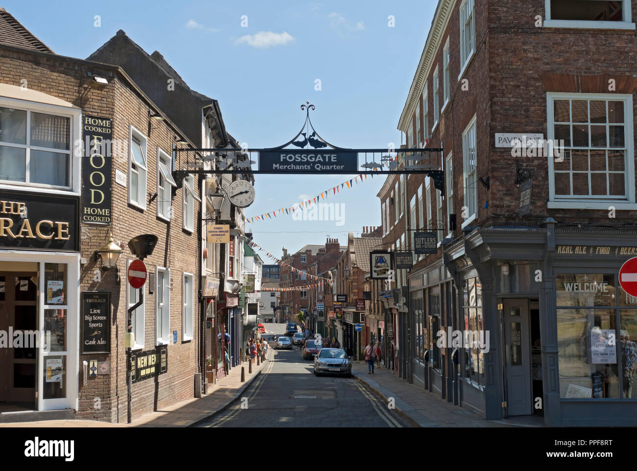 Bars and shops Fossgate York North Yorkshire England UK United Kingdom GB Great Britain - Stock Image
